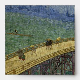 Puente de Van Gogh en lluvia después de Hiroshige Sobres