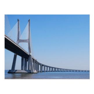 Puente de Vasco da Gama sobre el río el Tajo en Tarjetas Postales