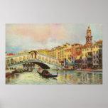 Puente de Venecia Rialto de la acuarela del vintag Póster