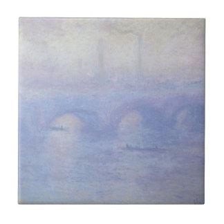 Puente de Waterloo por arte del impresionismo de Azulejo Cuadrado Pequeño