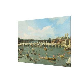 Puente de Westminster, Londres, con el señor el al Lienzo Envuelto Para Galerias