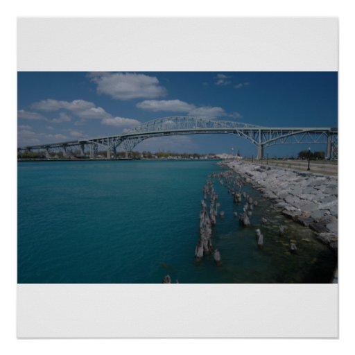Puente del agua azul póster