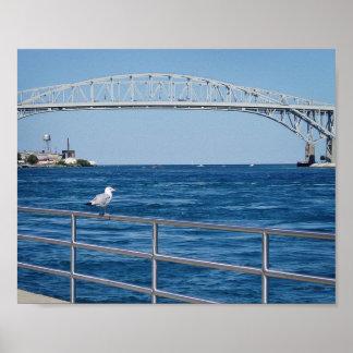 Puente del agua azul, puerto Huron, MI Póster