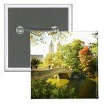 Puente del arco, Central Park, verano tardío, NYC Pin Cuadrada 5 Cm