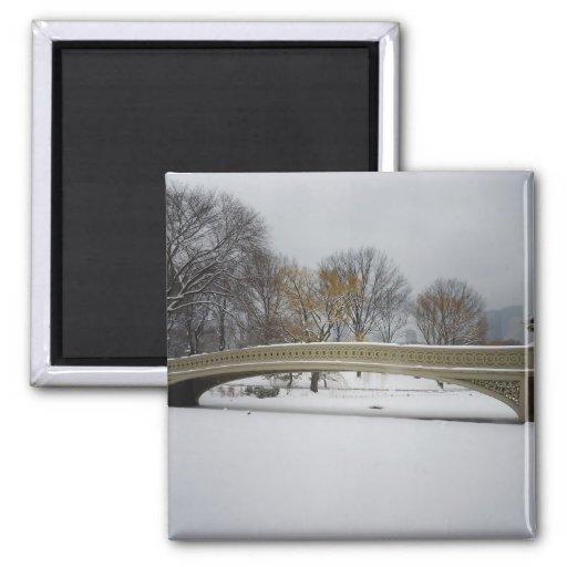 Puente del arco, paisaje del invierno, New York Ci Imán Cuadrado