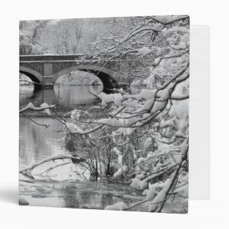 """Puente del arco sobre el río congelado en invierno carpeta 1 1/2"""""""