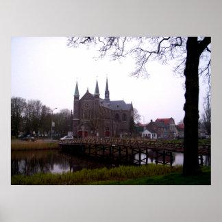 Puente del canal en el poster de Alkmaar