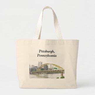 Puente del fuerte en Pittsburgh Pennsylvania Bolsa Tela Grande