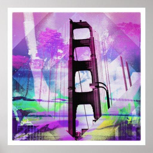 Puente del goldengate del acuario del vintage de S Posters