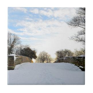 Puente del invierno azulejo cuadrado pequeño