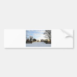 Puente del invierno etiqueta de parachoque