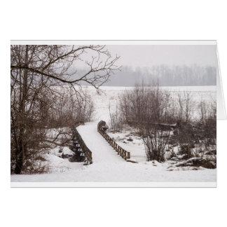 Puente del invierno tarjeta de felicitación