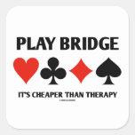 Puente del juego es más barato que la terapia (los calcomanía cuadradas personalizadas