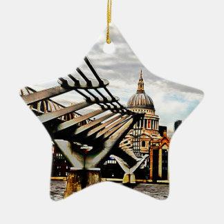 Puente del milenio - Londres Adorno Navideño De Cerámica En Forma De Estrella