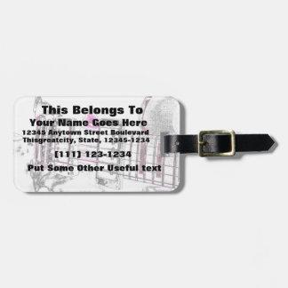 puente del negro del rosa de la imagen del esquema etiquetas de equipaje