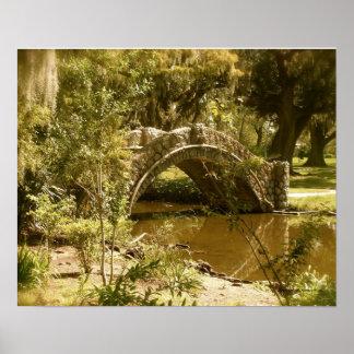Puente del parque de la ciudad en New Orleans Póster