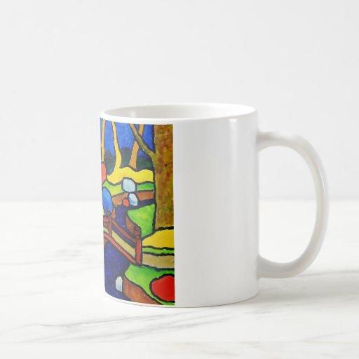 Puente del parque de la mamá tazas de café