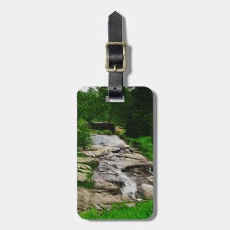 Puente del pie sobre extracto rocoso de la corrien etiqueta para maleta
