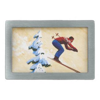 Puente del poster del esquí del vintage, de esquí  hebillas de cinturon rectangulares