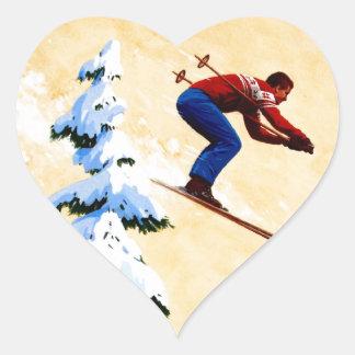 Puente del poster del esquí del vintage, de esquí pegatina en forma de corazón
