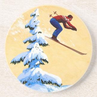 Puente del poster del esquí del vintage, de esquí  posavaso para bebida