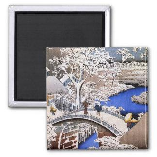 Puente del tambor de Meguro y colina de la puesta  Imán Cuadrado