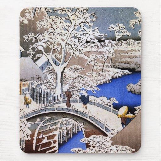 Puente del tambor de Meguro y colina de la puesta Mousepads