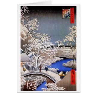Puente del tambor de Meguro y colina de la puesta  Tarjeta De Felicitación