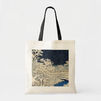 Puente del tambor en Meguro, por Ando Hiroshige Bolsa Tela Barata
