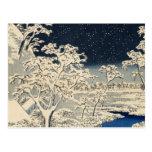 Puente del tambor en Meguro, por Ando Hiroshige Postal