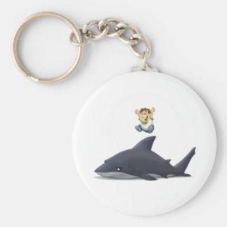 Puente del tiburón llavero redondo tipo pin
