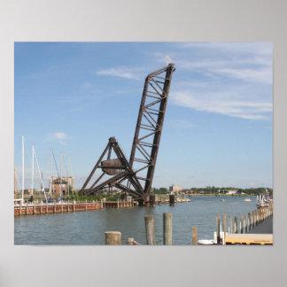 Puente del tren de Huron del puerto Poster