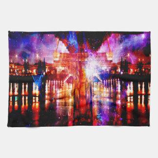 Puente del universo del arco iris toallas de cocina