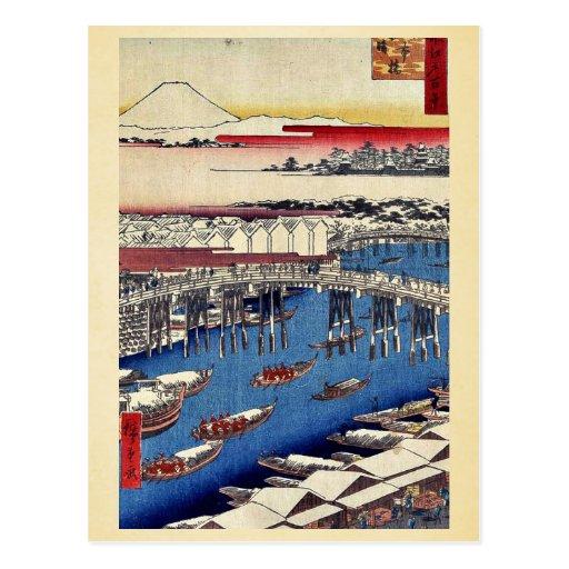 Puente, despejando después de nevadas por Andō, Hi Tarjetas Postales