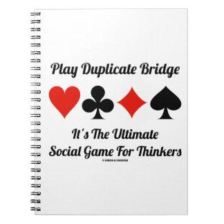 Puente duplicado del juego es último juego social libros de apuntes con espiral