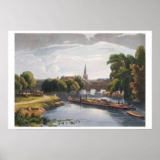 Puente e iglesia de Abingdon, grabados por Roberto Poster