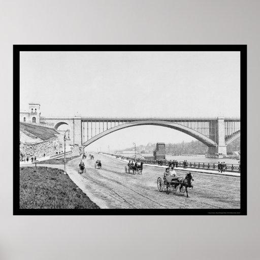 Puente el río Harlem 1905 de Washington del carret Poster