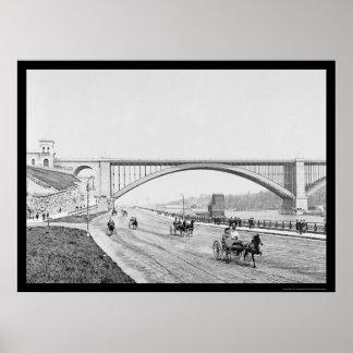 Puente el río Harlem 1905 de Washington del carret Póster