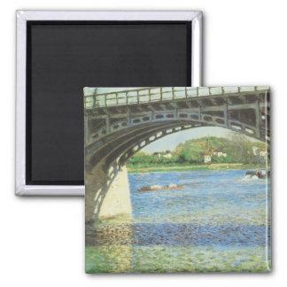 Puente en Argenteuil de Gustave Caillebotte Imán Cuadrado