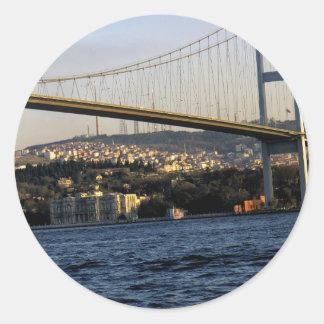 Puente en Estambul Pegatina Redonda