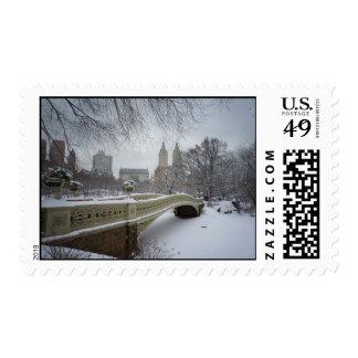 Puente en invierno, Central Park, New York City Sello Postal