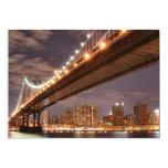 Puente en la noche, New York City de Manhattan Invitación 12,7 X 17,8 Cm