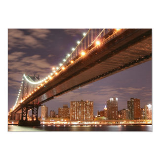 """Puente en la noche, New York City de Manhattan Invitación 5"""" X 7"""""""