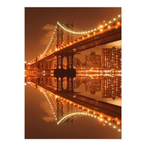 Puente en la noche, New York City de Manhattan Comunicado Personal
