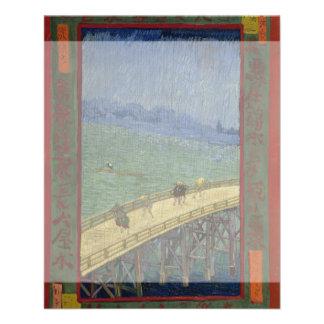 Puente en lluvia después de Hiroshige de Vincent Tarjetas Informativas