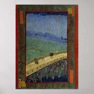 Puente en lluvia después de Hiroshige de Vincent v Posters