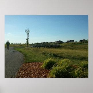 Puente en los 9 delanteros del campo de golf de Wa Póster