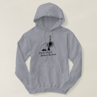 Puente encapuchado gris para mujer, logotipo negro sudadera