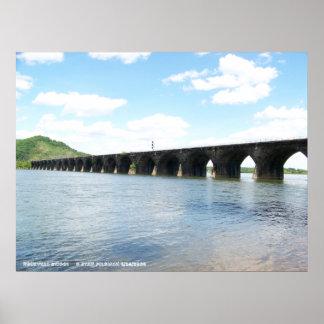 Puente ferroviario del arco de la albañilería de p poster