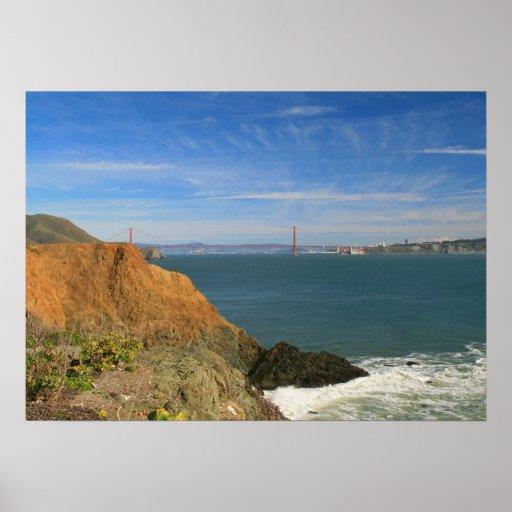 Puente Golden Gate, acantilados costeros Poster